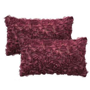 2Pcs Burgundy Bolster Pillow Case Shell 3D Stereo Chiffon Rose Flower 12 x 20 in
