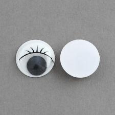 LOT de 50 CABOCHONS YEUX MOBILES à coller 3D avec CILS 10mm perles scrap fimo