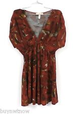 American Rag Cie Stretch Tunic Mini Dress Rust Abstract Print L Poly Spandex