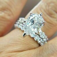 Certified 2.62Ct White Pear Diamond Engagement Wedding Ring in 14K White Gold