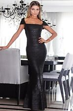 Bandage Maxi Gown Black Foil Cap Sleeve Bodycon Rayon Evening Party Formal Dress
