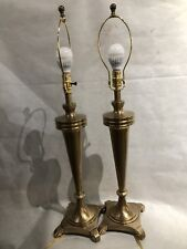 """Fredrick Cooper Pair Of Lacquered Brass Table Lamps 35.5"""" w/ Linen Shades"""