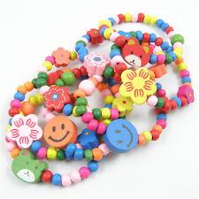 12pcs Girls Princess Candy Color Kids Wooden Bracelet Party Bag Fillers Toys