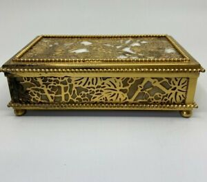 Tiffany New York Jewelry Box Casket Kassette Schatulle Brass Slag Glass L. Comfo