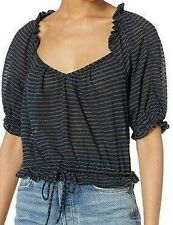 Free People Dorothy Short Sleeve Top - Black Striped, Small