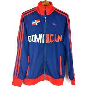Adidas Mens Soccer Jacket Size S Dominican Red Blue Trefoil Full Zip Mock Neck