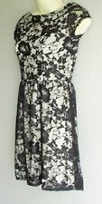 Lightweight Black Lace Over White cotton Cap Sleeve Dress Sz 6  NEW (debranded)