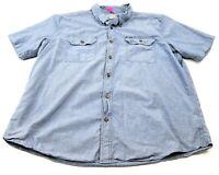 Carhartt Shirt Men's 2XL Relaxed Fit Blue Button Up XXL Short Sleeve Workwear
