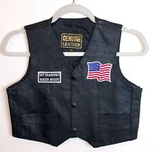 Girl's Black Leather Biker Motorcycle Vest Harley Flag Grandpa Patches XXL