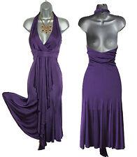 Karen Millen Purple Jersey Halterneck Low V Neck Open Back Formal Dress UK 10