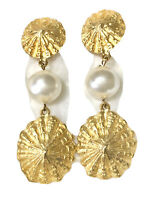 VINTAGE GOLD PLATED SEA SHELL FAUX PEARL EARRINGS NAUTICAL CLIP ON