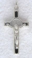 Brown Enamel ST BENEDICT Crucifix Catholic Pendant Oxidized Silver Nickel NEW