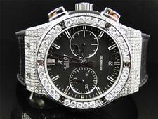 Mens New Custom Hublot Big Bang 44mm Leather Band Genuine Diamond Watch 10.5 Ct