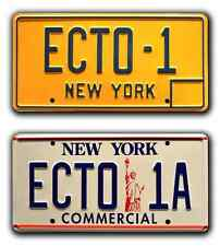 Ghostbusters 1 & 2 / ECTO-1 + ECTO-1A *STAMPED* Prop Replica License Plate Combo