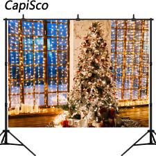 Photography Background Christmas Tree Window Gift Decor Light Photocall Backdrop