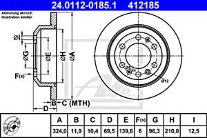 2x Brake Disc ATE Fits KIA Grand Carnival III 58411-4D000
