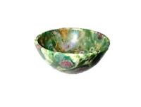 "Jet Natural Ruby Fuschite Bowl 2"" Free Booklet Jet International Crystal Therapy"