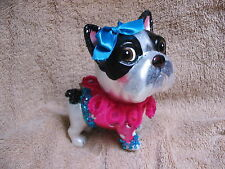 Boston Terrier Dog Glass Ornament - Puppy in Frills, Glitter, and Hair Bow