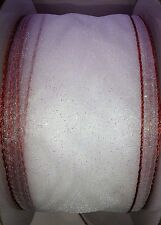 Christmas White Organza Twinkle Wired Red Edged Ribbon Decorations, Cakes, Bows