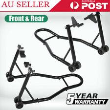 Heavy Duty Motorcycle Motorbike Front & Rear Lift Stand Set Kit Steel