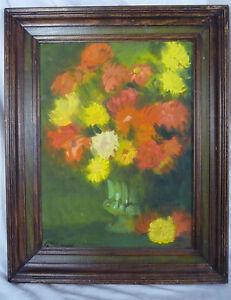 1960s Still Life Floral Oil Painting -Bright Orange Yellow- John Killackey 1966