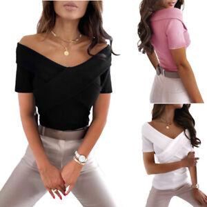Damen Sexy Bluse Kurzarm Shirts Freizeit Hemd Slim Oberteile Basic Tops Clubwear