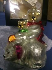 Christopher Radko Glass Ornament  Polar Bear Family Affair