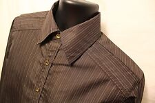 Level Ten L/S Brown Stripe Button Front CASUAL SHIRT SIZE S Polyester Blend