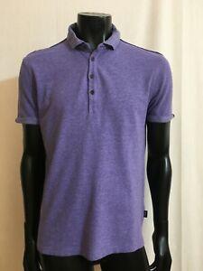 Hugo BOSS Mens Purple Cotton / Linen Polo Shirt Size L