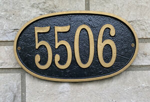 New  5506 Oval House Number Plaque Sign , Black/Gold, Cast Aluminum