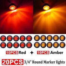 """20pcs 3/4"""" Red Amber Bullet Side Marker LED Light Flush Mount Car Truck Trailer"""