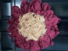 Spring Wreath Creme Flower Door Wreath Maroon Fabric Burlap Large