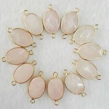 Fashion 12pcs natural rose quartz stone Charms Druzy Bracelet Necklace Connector