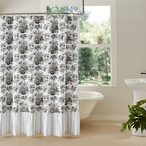 Annie Portabella Brown Soft White Grey Ruffled Floral Country Shower Curtain