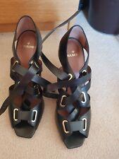 7b8e7d59325 Genuine Mulberry black leather Flora sandals 120 heel size 41 BNIB