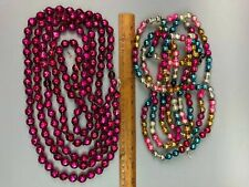 2 Atq Mercury Glass Christmas Tree Garland Beads Strands Multicolor & Red Purple