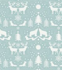 ARCTIC ANIMALS ON ICY BLUE BY LEWIS & IRENE - COTTON FABRIC FQ'S