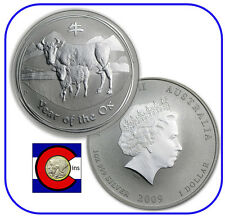 2009 Lunar Ox 1 oz Silver Coin, Series II from Perth Mint in Australia