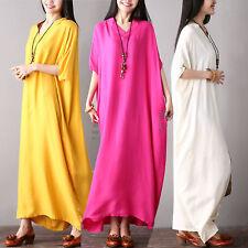 2018 Retro Casual Loose Batwing Sleeve V-Neck Party Kaftan Abaya Long Maxi Dress