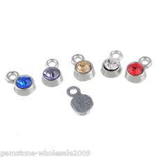 "50PCS Wholesale Lots W09 Silver Tone Mixed Rhinestone Pendants 8x5mm(3/8""x1/4"")"