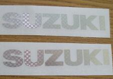 """#843 (2) 8.25"""" Suzuki Logo Motorcycle Decals StickersSilver Carbon Fiber"""