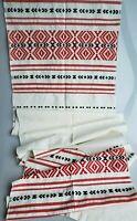 Folk art rushnyk embroidered table runner Eastern European red black geometric