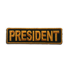 Embroidered President Yellow on Black Sew or Iron on Patch Biker Patch