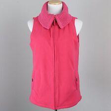 Womens M Pink Fleece Vest Zip Cable Knit Collar Pockets Sleeveless Jacket 10 12