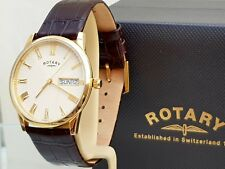NEW Rotary WINDSOR Mens Watch Day & Date Brown Leather strap RRP £280 Boxed(R116