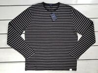 New Gant Men's T-shirt Black Striped Breton Long Sleeve Grey Melange Light Weigh