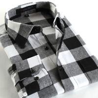 Mens Shirt Plaid Casual Long Sleeve Slim Fit Flannel Check Work Smart Shirts