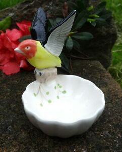 Figural Bird-in-Flight Porcelain Open Salt Dip, Cellar, Dish!