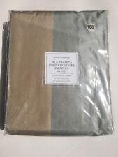 RESTORATION HARDWARE SILK TAFFETA PAVILION STRIPE DRAPE R.Pocket 100X108