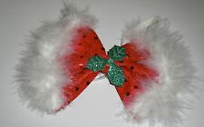 FLUFFY RED CHRISTMAS BOW TIE WITH HOLLY TRIM